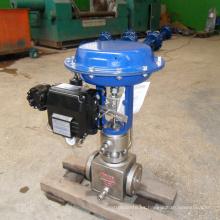 V-type PTFE acero inoxidable 304 válvula de control de aceite soldado con neumático