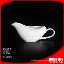Saucière de vaisselle vaisselle sauce en céramique blanc 10oz