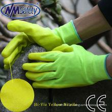 Luvas de trabalho de segurança com revestimento amarelo fluorescente NMSAFETY