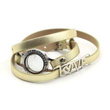 Locket Bracelet with Gold Leather Belt for Memory Gift
