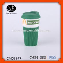 Tasse en céramique en porcelaine de 480 ml, tasse en porcelaine avec enveloppement en silicone, tasse eco avec impression photographique et couvercle et manche en silicone