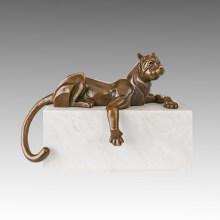 Escultura de bronce animal Escultura de leopardo relajado estatua de cobre amarillo Deco Tpal-465