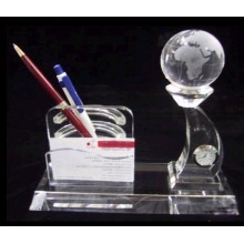 crystal pen holder with earth model and card holder,crystal clock