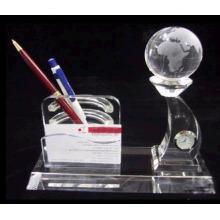 suporte de caneta de cristal com modelo de terra e titular do cartão, relógio de cristal