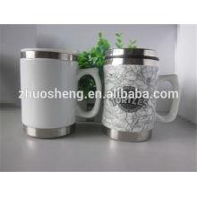 nuevos productos 2015 producto innovador de acero inoxidable taza cerámica taza con mango
