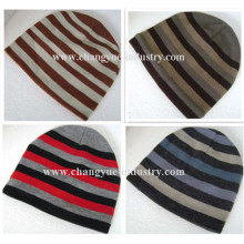 Warm design striped knitted men winter hat