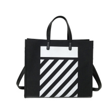 Canvas School Tote Bag Leather Handle with Zipper