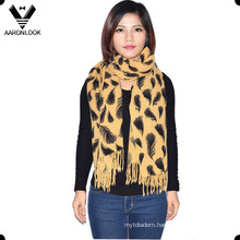 Women′s Fashion Leaves Printed Scarf Wrap with Fringes