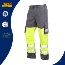 Poli / algodón multi pantalones de trabajo de bolsillos con cinta reflectante