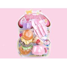 Brinquedos de comida de brinquedo de hambúrguer bonito Mini com talheres