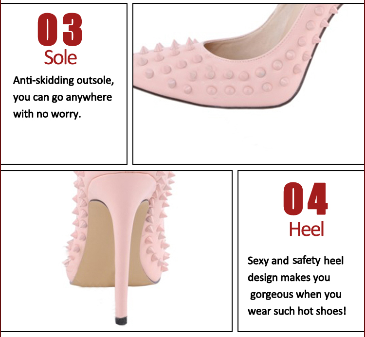 pink stiletto heel rivet genuine shoes