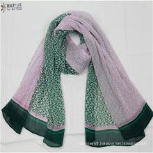 fashion new women folds print scarf contrast color Geometric pattern light-minded Sunscreen Shawl