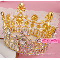 Красота конкурс золотой позолоченный прозрачный кристалл круглый полная корона