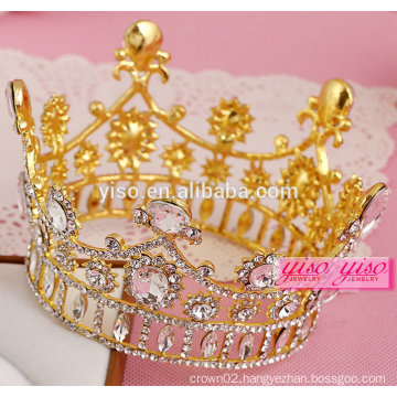 beauty pageant gold plated clear crystal round full crown