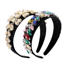Bandeau Opaska Baroque Colorful Diamond Rhinestone Pearl Headband Luxury Hair Accessories Korean Hair Band for Women