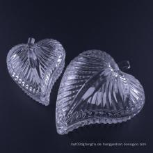 Hand gedrückt Blatt geformt Glas Schmuckschatulle