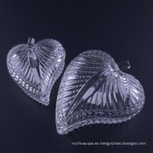 Joyero de cristal con forma de hoja prensado a mano