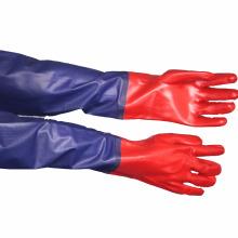 NMSAFETY guantes largos revestidos de pvc azul y rojo a prueba de agua