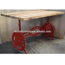 Table de salle à manger industrielle Base de couleur rouge