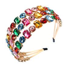 Bandeau fascia per capelli Wide Gem Stone Headband Luxury Hair Accessories Baroque Gorgeous Rhinestones Alloy Retro Hairband