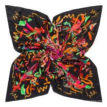 Vente chaude 130x130cm écharpe carrée fleurs et oiseaux écharpe imprimée en soie écharpe d'impression numérique