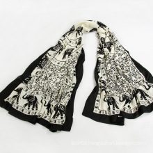 Travel Companions Black Voile Elephant Printed Scarf