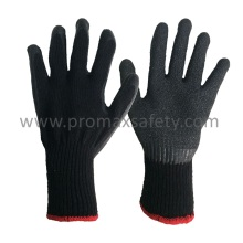 10 Gauge Black Tc Knitted Gloves with Black Crinkle Latex Palm Coated