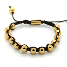 woven bracelet with stainless steel peal 18K gold