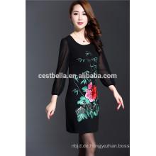 freie Größe neue Produkte wholesale lange Hülse gesticktes Kleid für Damen