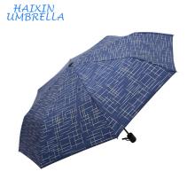 High Quality Fashion Luxury Euro Market London Man Stripe Cannetille Printed Russia Umbrella Folding Men's Rain Umbrella