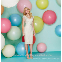 Wholesale Good Quality Elegant New V Neck Cap Sleeve Lace Short A Line Bridesmaid Dresses LBS08