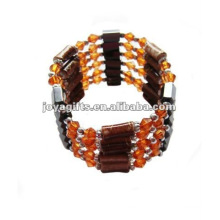 Magnetic Orange Glass Beads wrap Bracelets & Necklace 36""