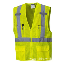 Class 2 Hi Vis Safety Vest With Sliver Reflective Tape