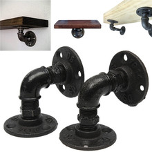 Industrial Pipe Shelf Bracket Black Steampunk Pipe