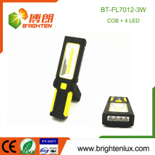 Factory Wholesale ABS Material Multi-functional 4 led White light and COB led Stand Portable Work Light Magnetic Flashlight