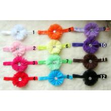 Baby Elastic Stretch Headband With Net Yarn Flower With Rhinestone Newborn Headband