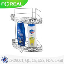 Metal Wire Chrome Plating 2-Tiers Bathroom Corner Organizer