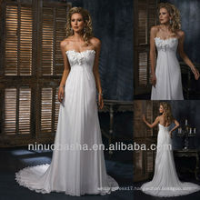 Casual Style Sheath Handmade Flower Chiffon Chapel Train Strapless Wedding Dresses Bridal Gown