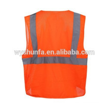 Gilets de sécurité ANSI / ISEA 107-2010, gilets de tissu en maille polyester avec plusieurs poches, gilets réfléchissants 3M