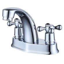 Klasik Perak Chrome Finish Dual Handle Basin Faucet