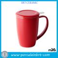 Керамическая чашка для чая с насадкой из нержавеющей стали