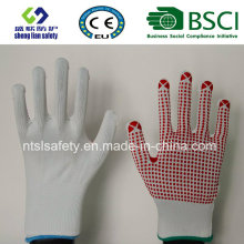 13 G Poliéster Shell PVC Dots Safety Work Glove
