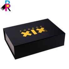 Caixas de embalagem de luxo cartão preto duro com estilo de pasta ímã