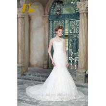 ED Bridal New Product Sexy Sleeveless O Neck Lace Appliqued Customized High End Mermaid Wedding Dress 2017