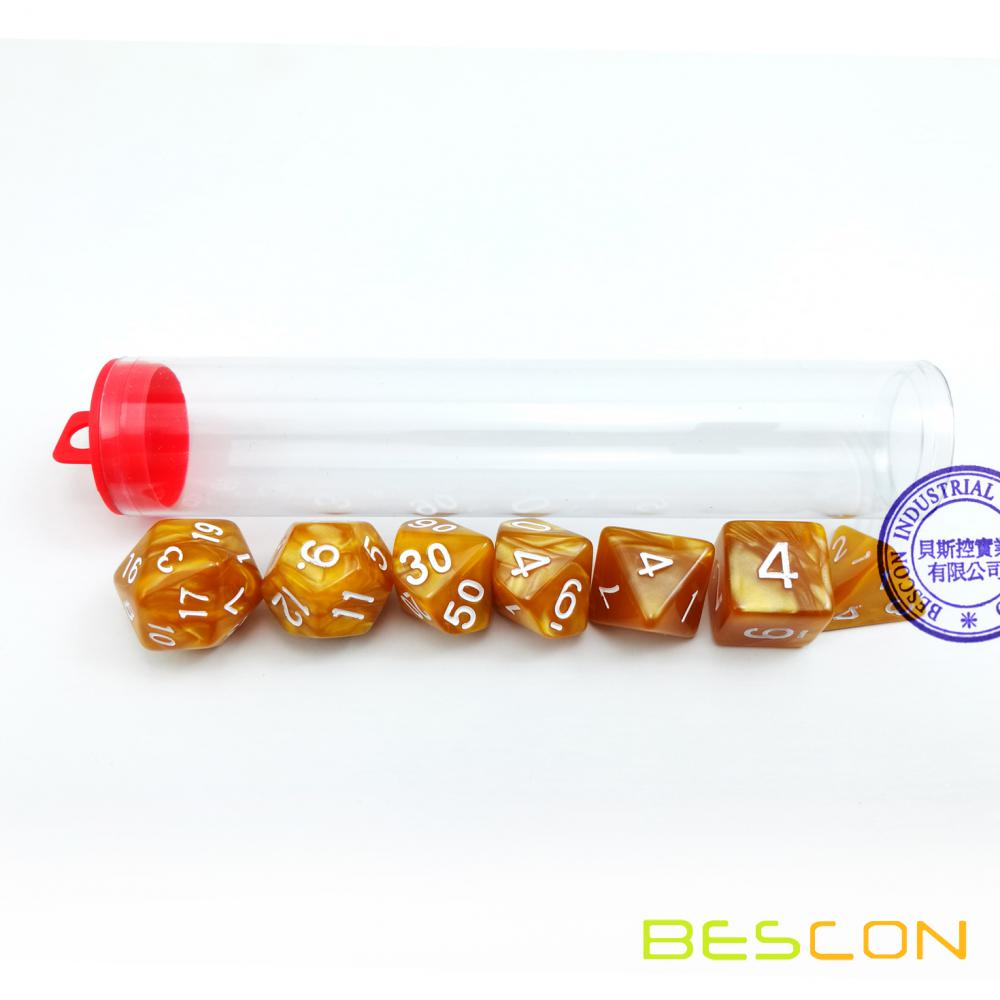 Bescon Marble Golden 7pcs Polyhedral DND Dice Set D4-D20 in Clear Tube Packing