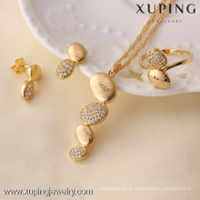 61060-Xuping 3pcs set gold plated hot sale african jewelry set