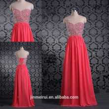 Beaded Rhinestones Sweetheart Bodice Corset Prom Gown Chiffon Floor Length Coral Prom Dresses