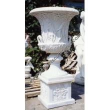 Каменный мраморный цветочный горшок для украшения сада (QFP030B)