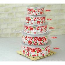 full flower design enamel planus ice bowl &ice cream bowl