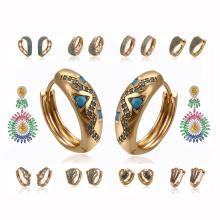 55555 Nouveaux modèles de boucles d'oreilles en pierre de dinde, bijoux turcs en gros pour femmes turcs, boucles d'oreilles turquoises en or 18 carats